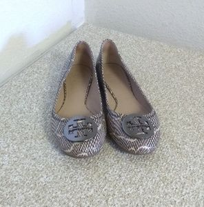 Tory Burch Brown Python Print Leather Flat Shoes